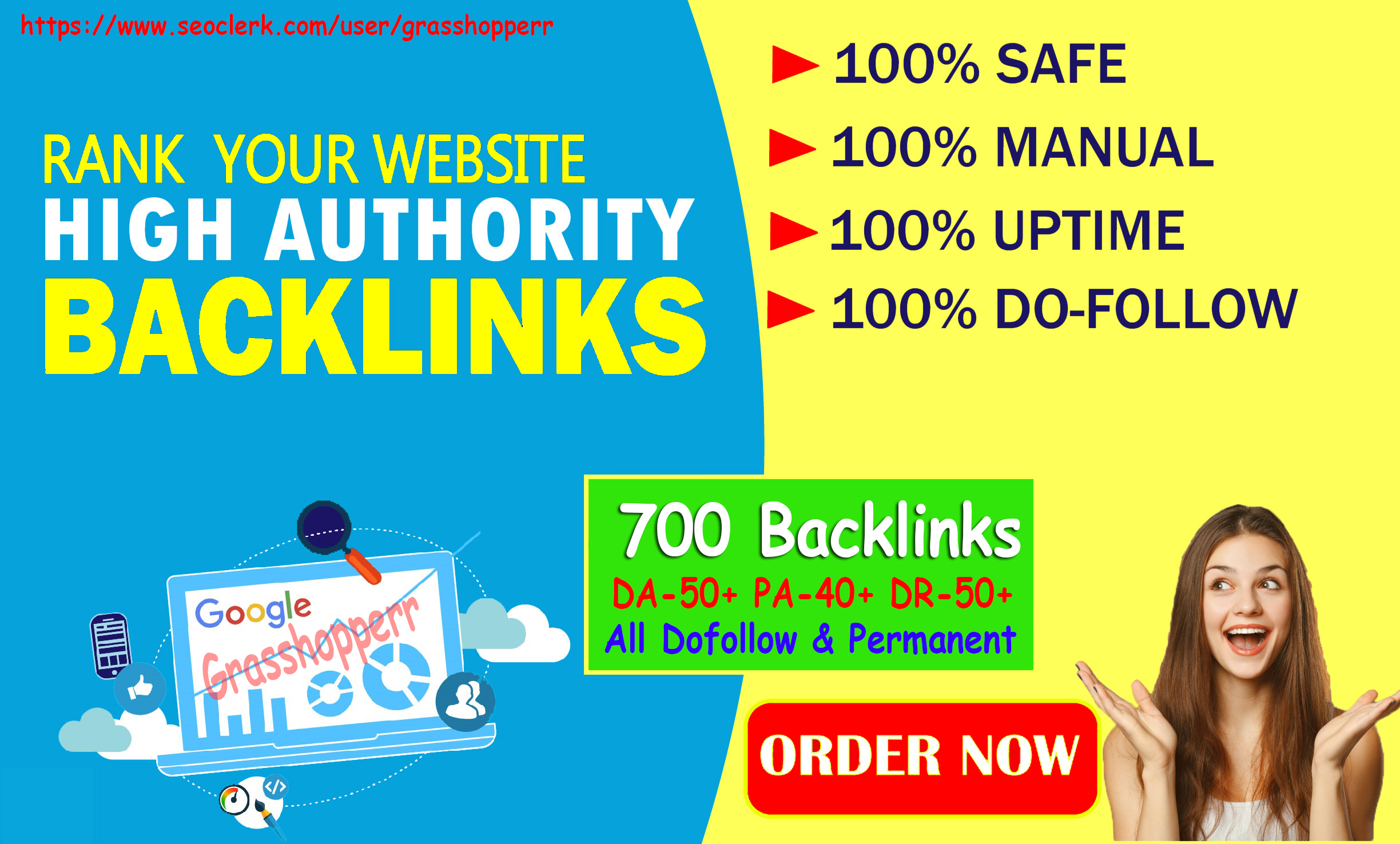 DA50+ PA40+ PR 6-10 HighQuality 700 Homepage web2.0 Backlink Permanent Dofollow With unique website
