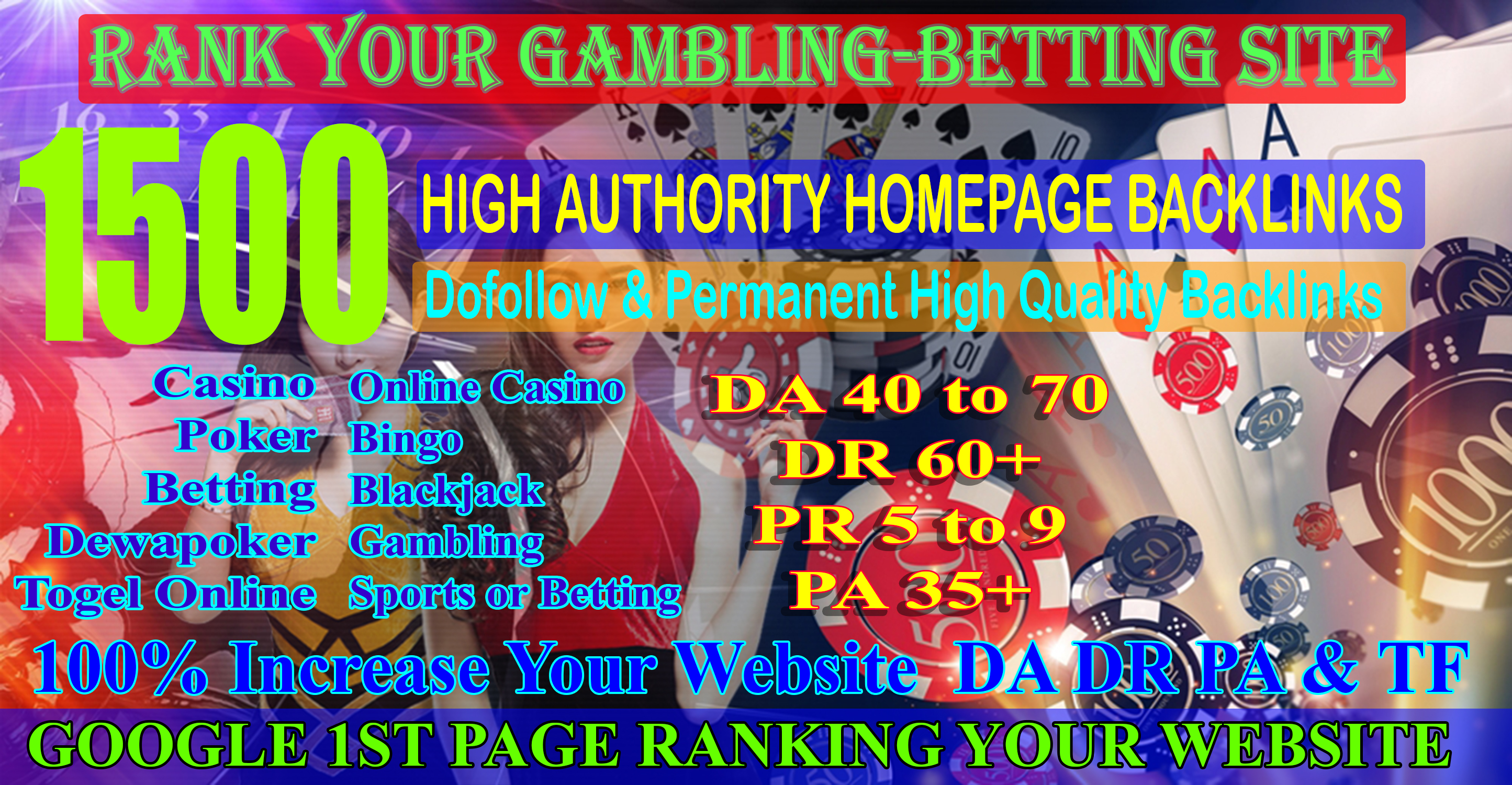 1500 CASINO, Poker, Gambling, Judi bola, High Quality With DA70+ DR60+ Homepage Backlinks