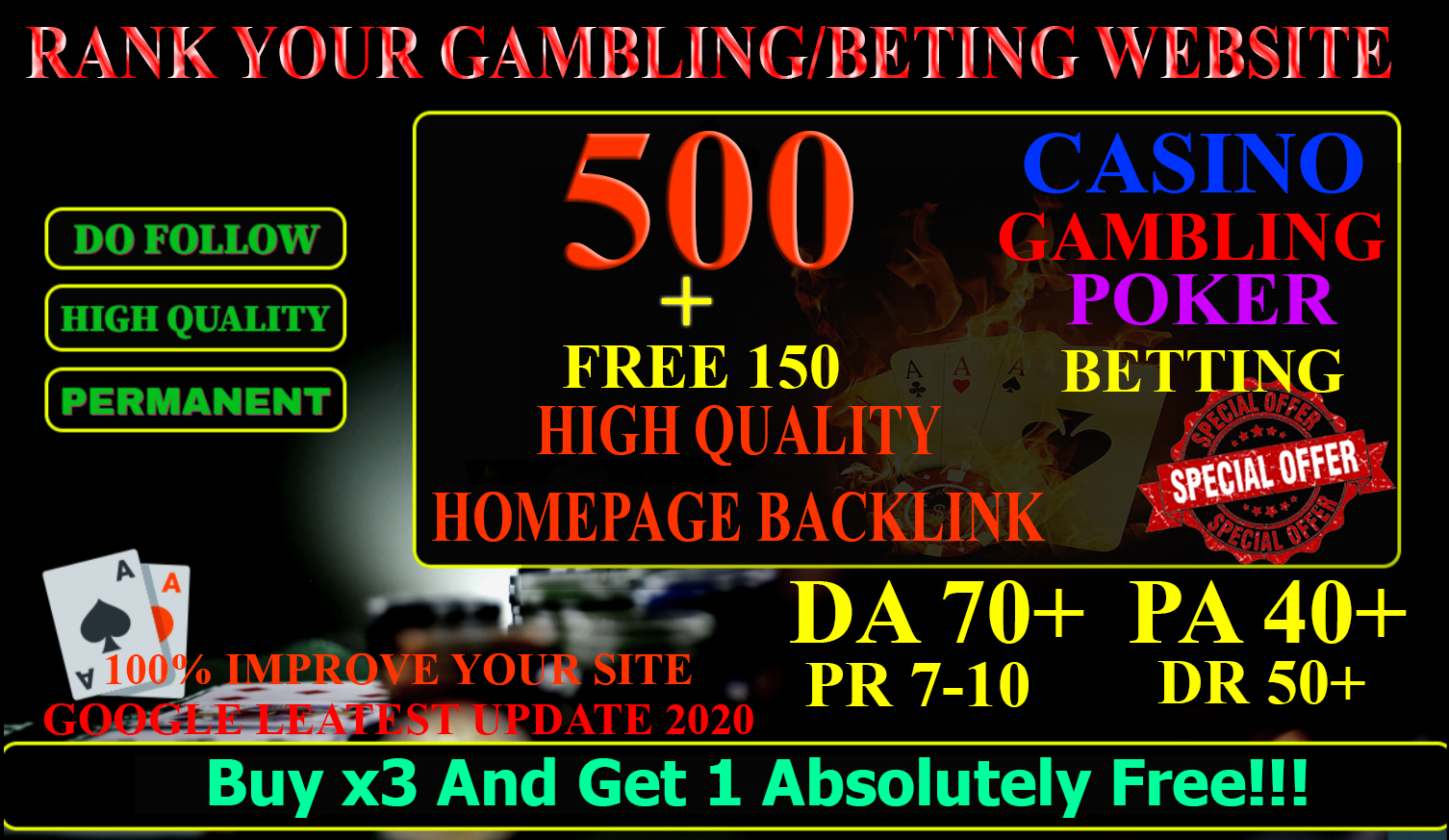 500 High Quality Homepage Backlink Casino,  Poker,  Gambling BETTING DA70+ PA 40+ 100 DOFOLLOW
