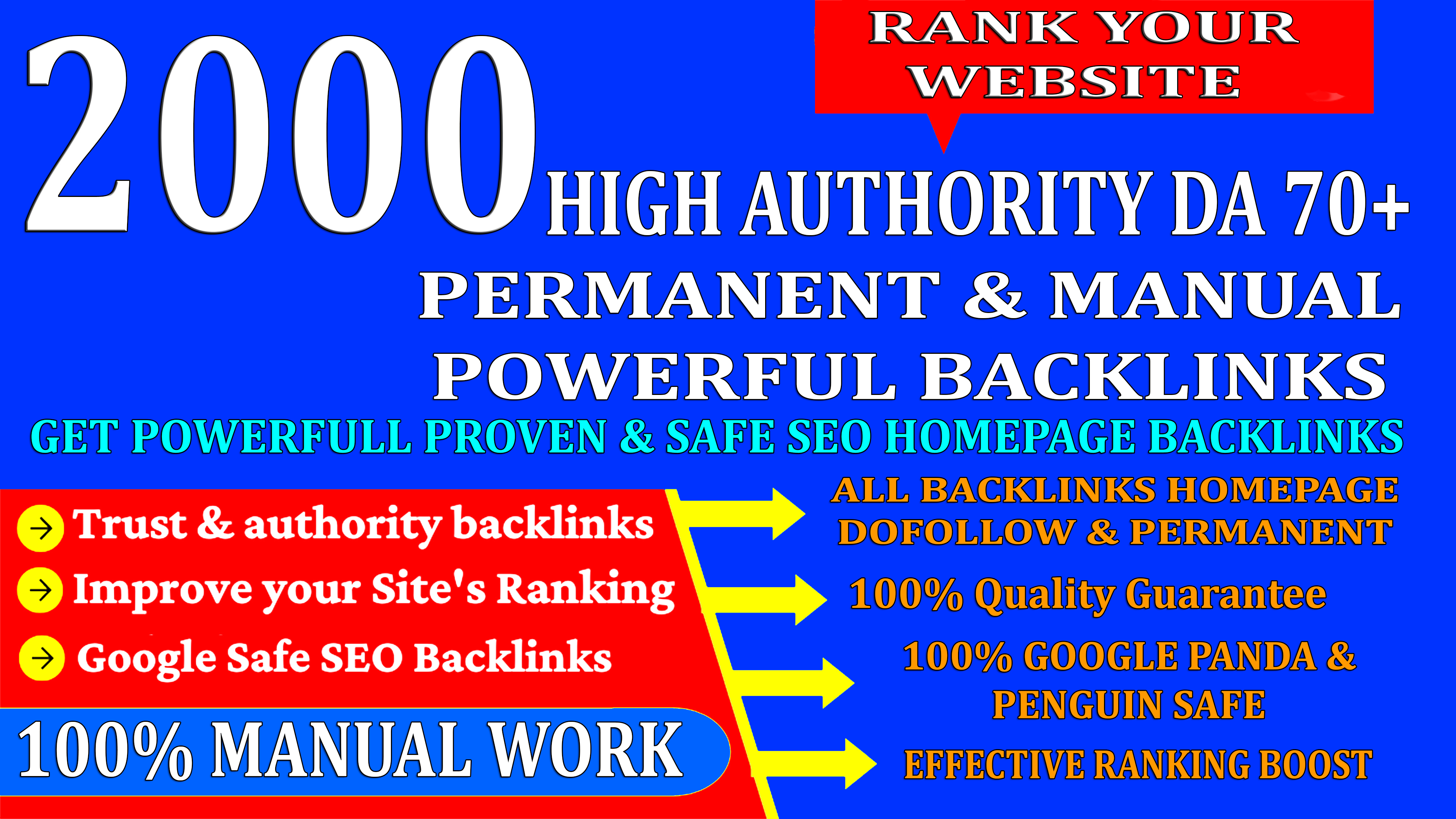 2000 High Authority Permanent Web2.0 Homepage Backlinks With High DA/PA/TF/CF On Rank your Website