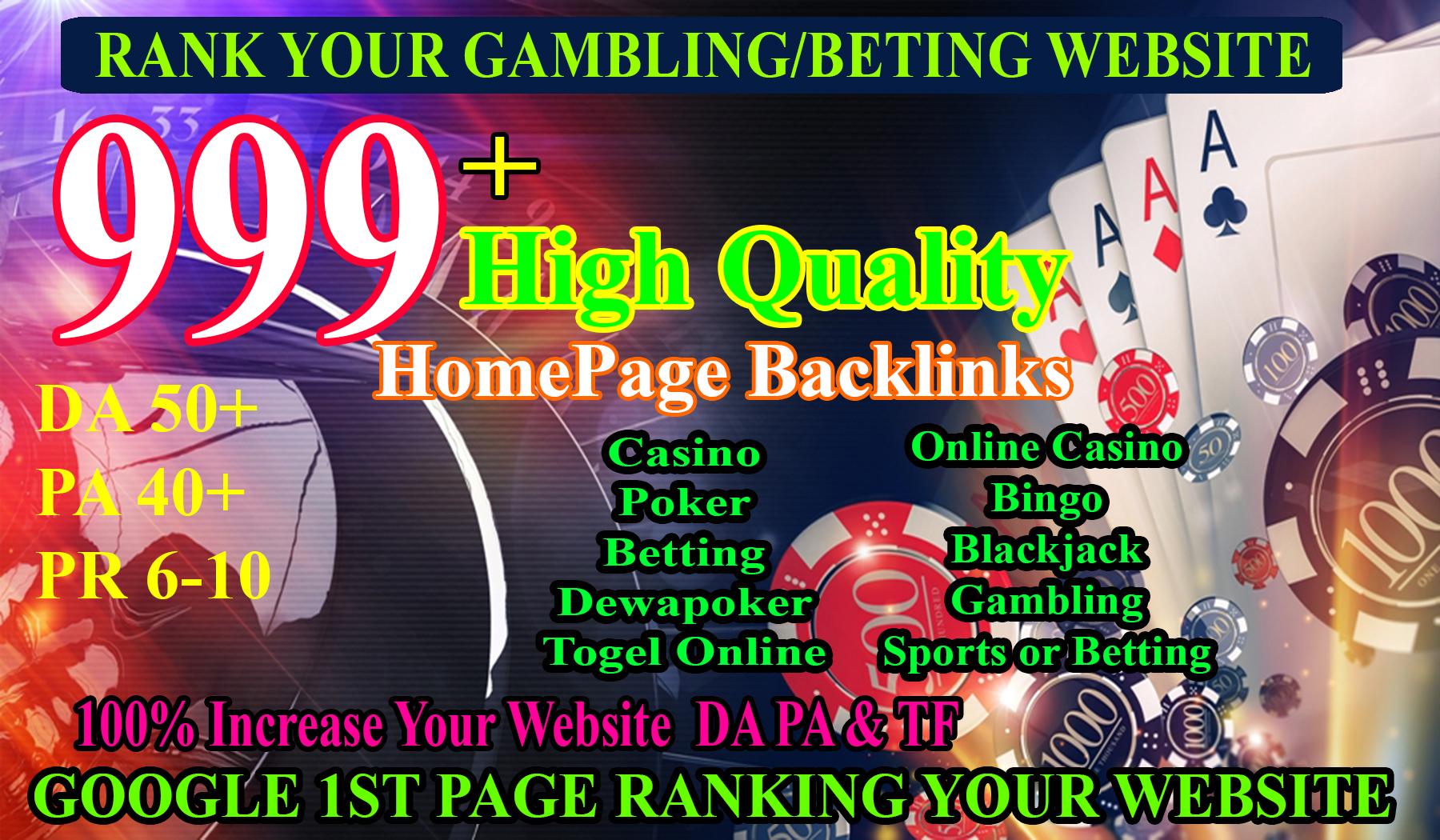 Hot Offer 999+ Powerful Casino,  Gambling,  Poker,  Sports High Quality Homepage Backlinks DA70+ PA50+