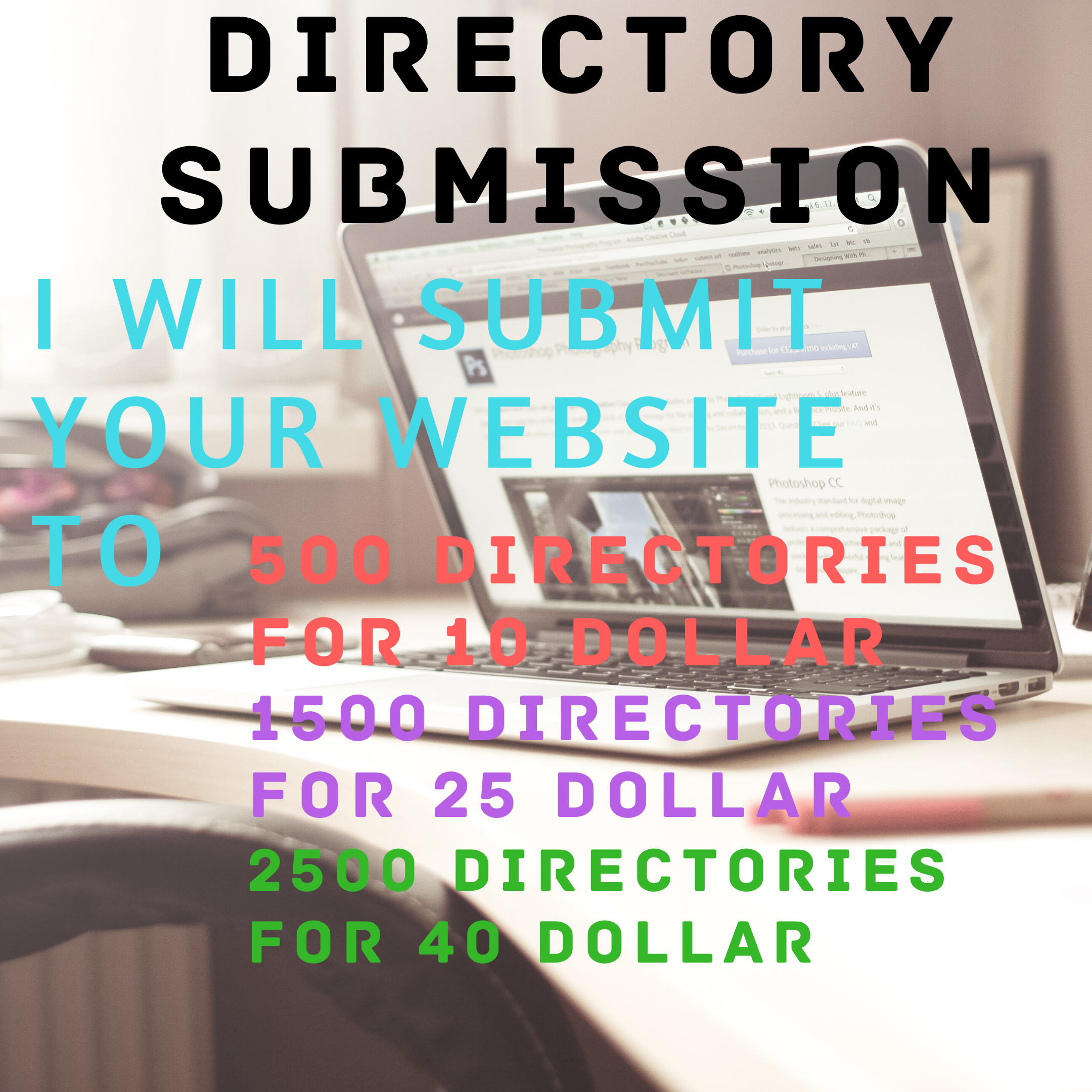 I will submit your website address to 500 directory submissions in 10 dollar