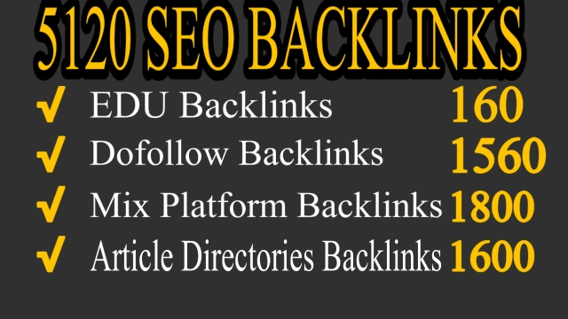 5120 backlinks Dofollow, EDU, Article directories and Mix platforms backlinks