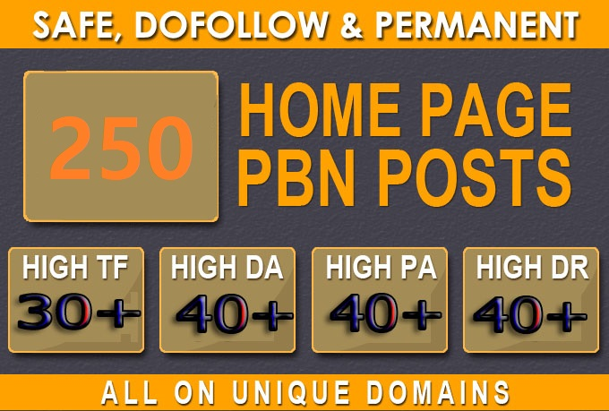 Get Extreme 250+PBN Backlink in your website hompage with HIGH DA/PA/TF/CF with unique website
