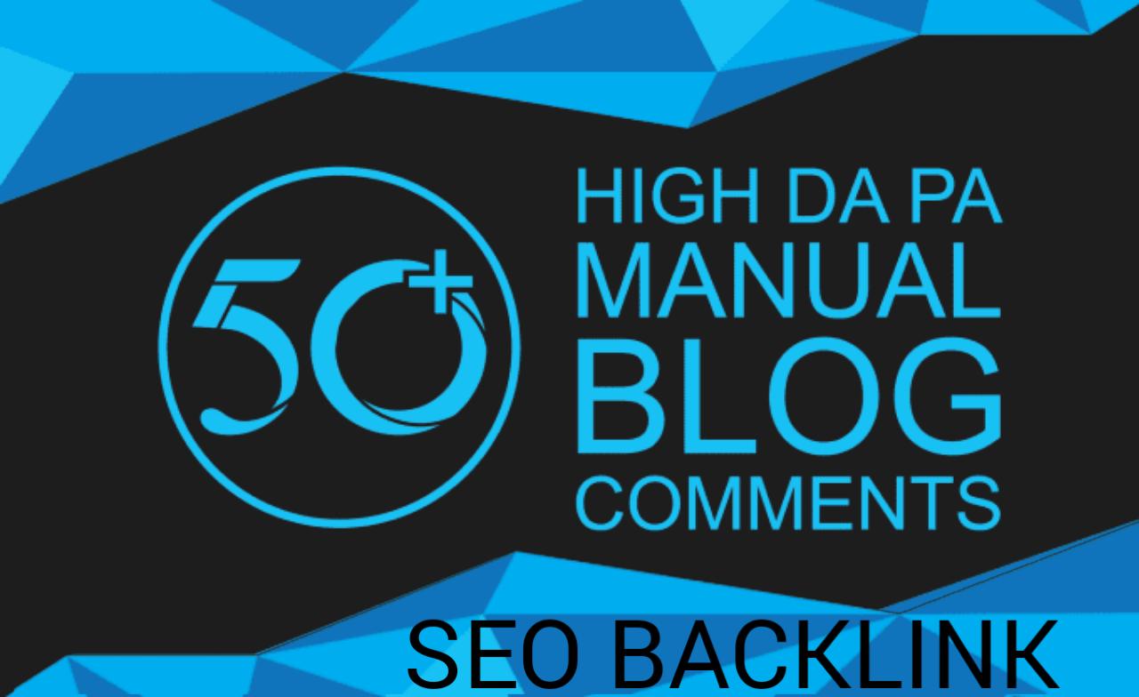 I will do 50 blog comment in high da blog sites
