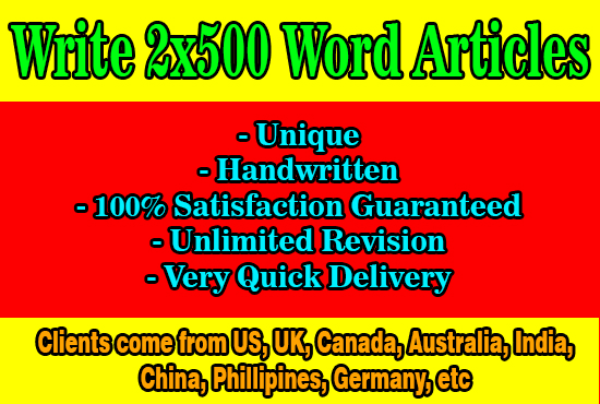 I will write 2x500 word high quality,  unique SEO articles