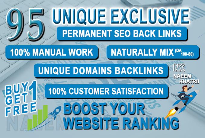 95 unique domain exclusive permanent SEO backlinks da 100