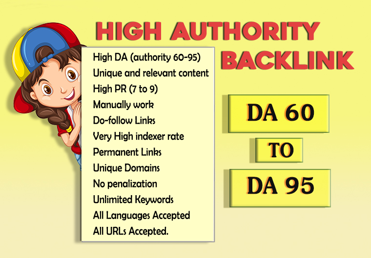 I will do 70 high Authority and most effective backlinks with quality articles