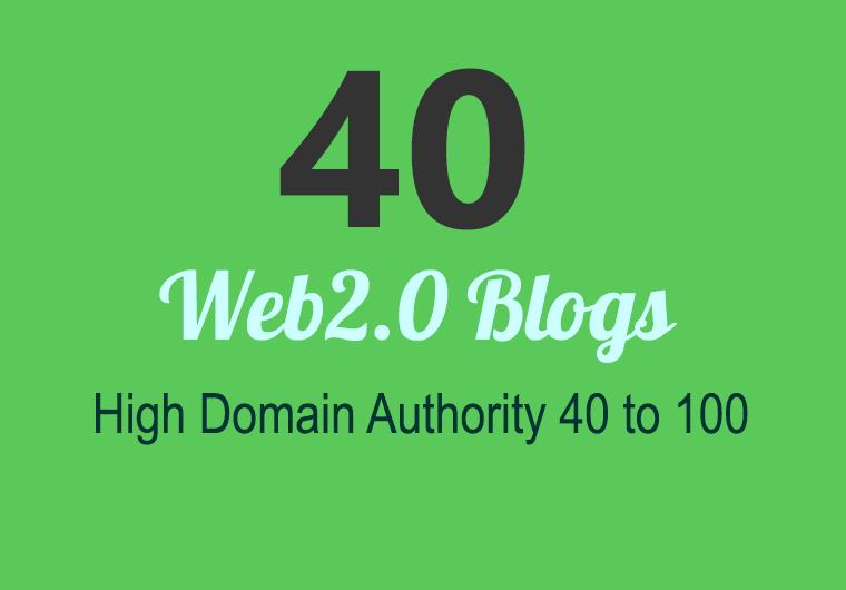 Unique 40 Sites DA 40+ PA 35+ PR 6+ Web 2.0 50 PBN backlink