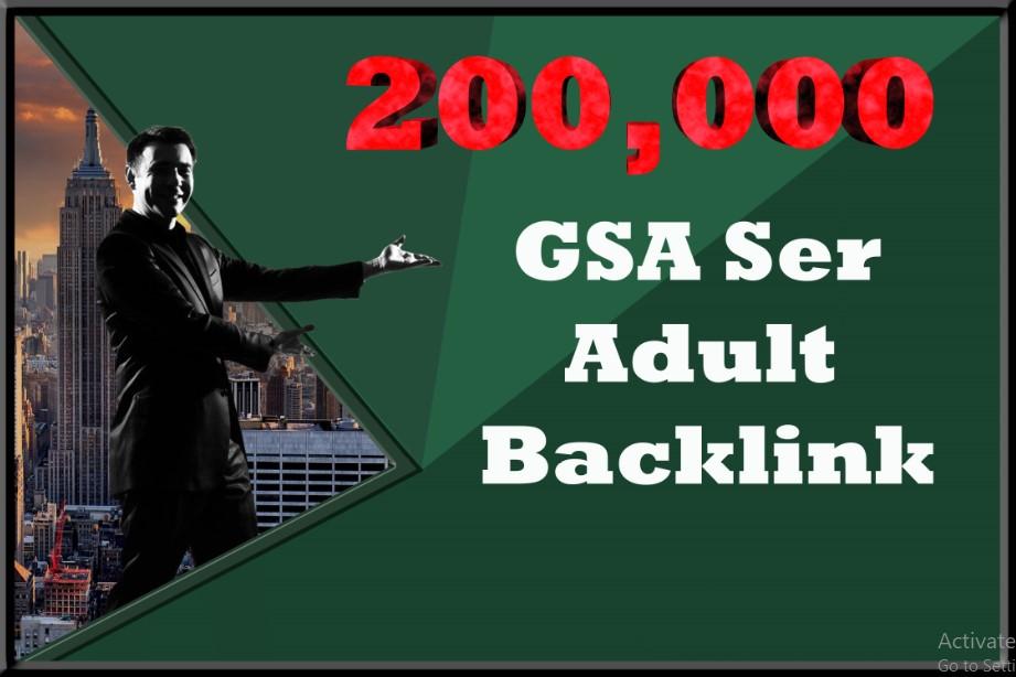 200,000 GSA Ser backlinks for your Adult site
