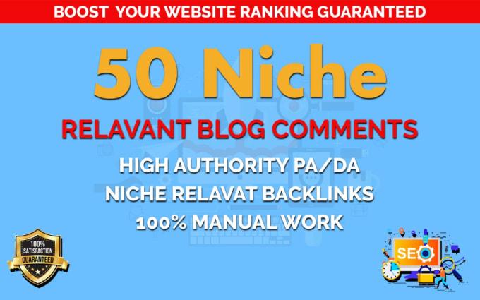 I Wiil Provide 50 Niche Blog Comment Backlinks