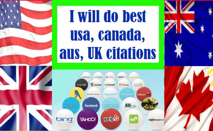 I will do best usa,  canada,  aus,  UK citations