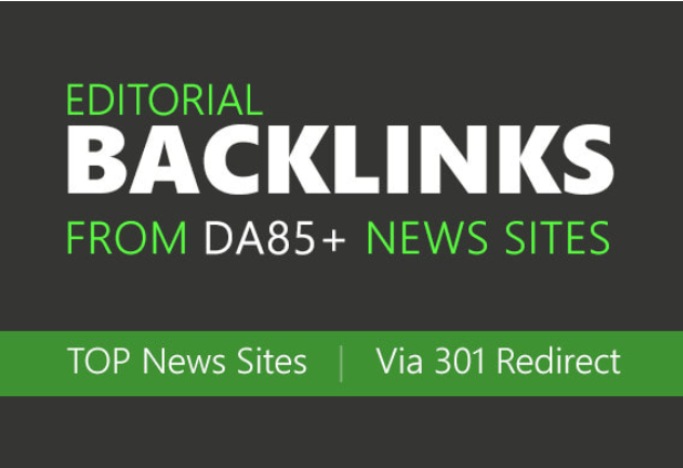 I will build high authority backlinks from top news sites via 301 redirect,  high da SEO