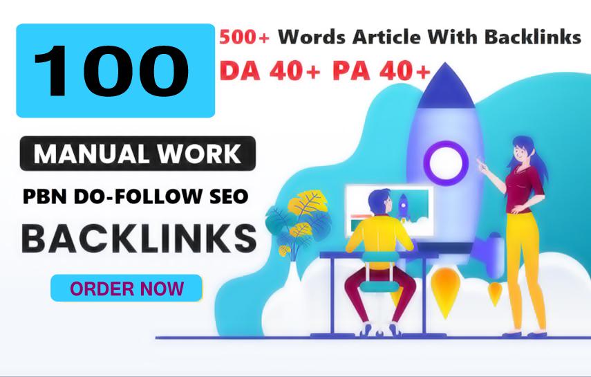 Unique 100 Sites DA 50+ PA 40+ PR 5+ Web 2.0 100 PBN Backlink