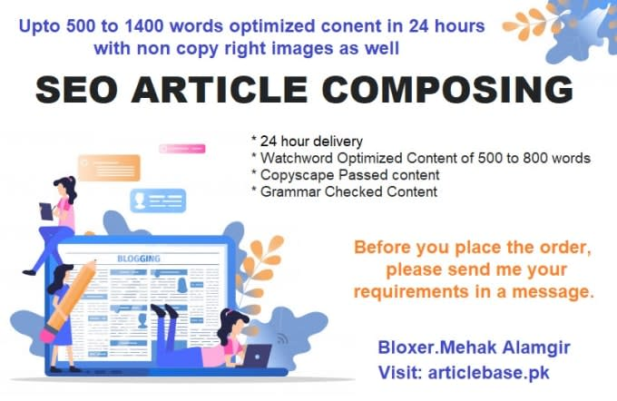 I will write articles and blogs for you
