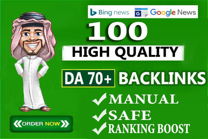 I will create 100 unique domain seo backlinks on tf100 da70+ sites