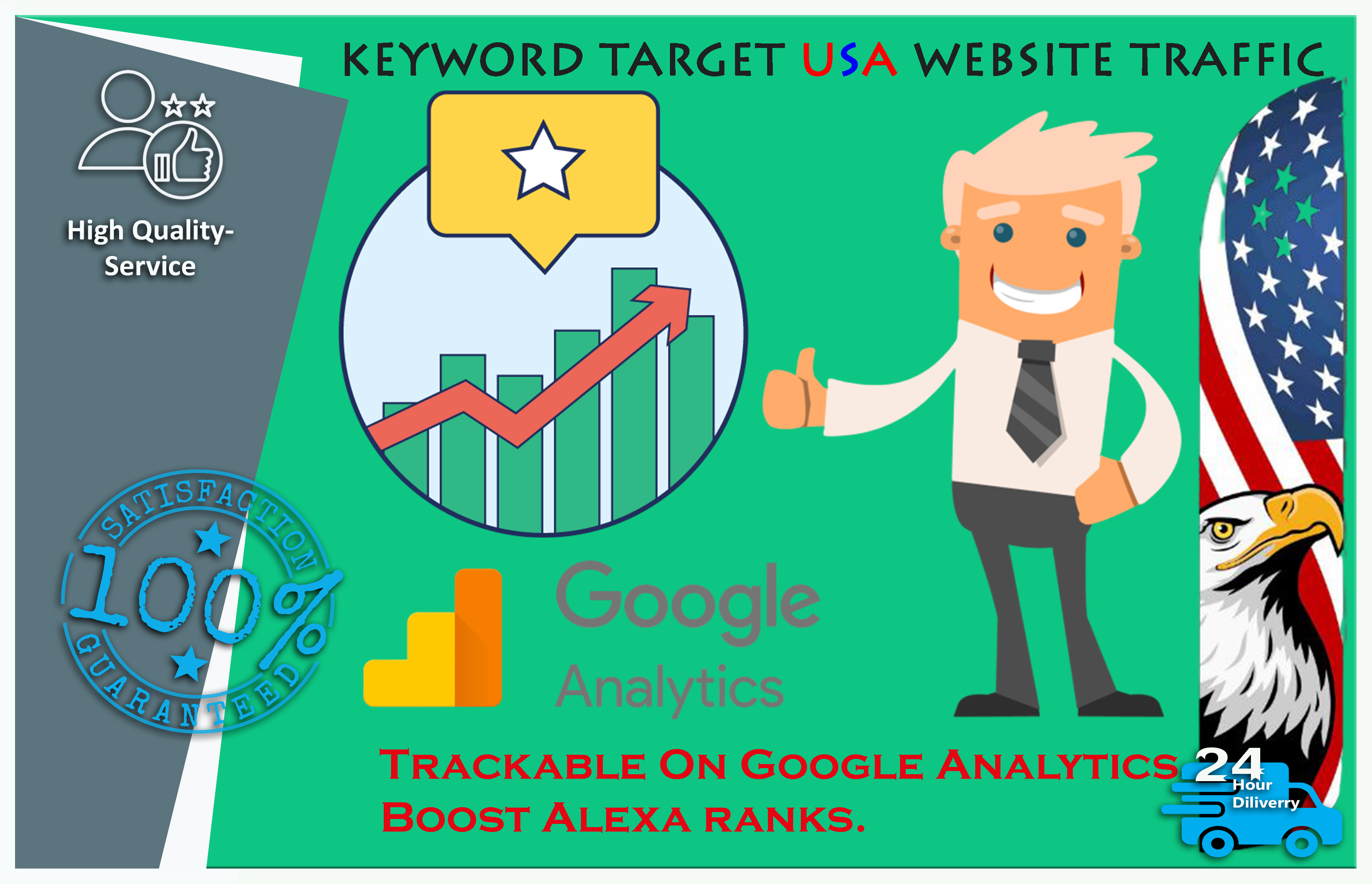 Send you Keyword Targeted USA Website Traffic With Low Bounce Rate