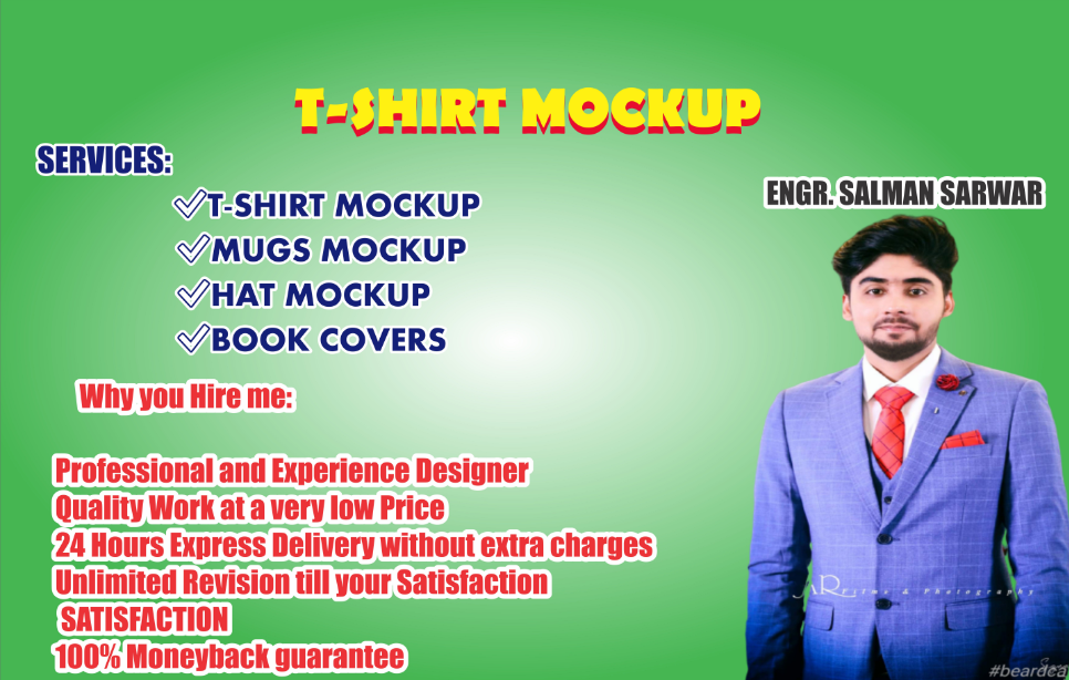 I will design t shirts mockups,  mugs,  hat,  cap and books mockups