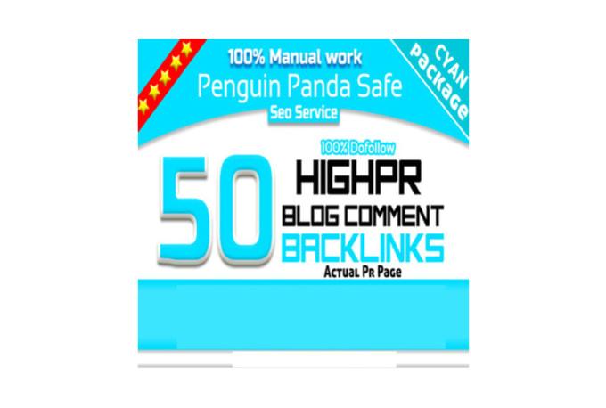 Do manually 50 links High Pr Dofollow blog comments