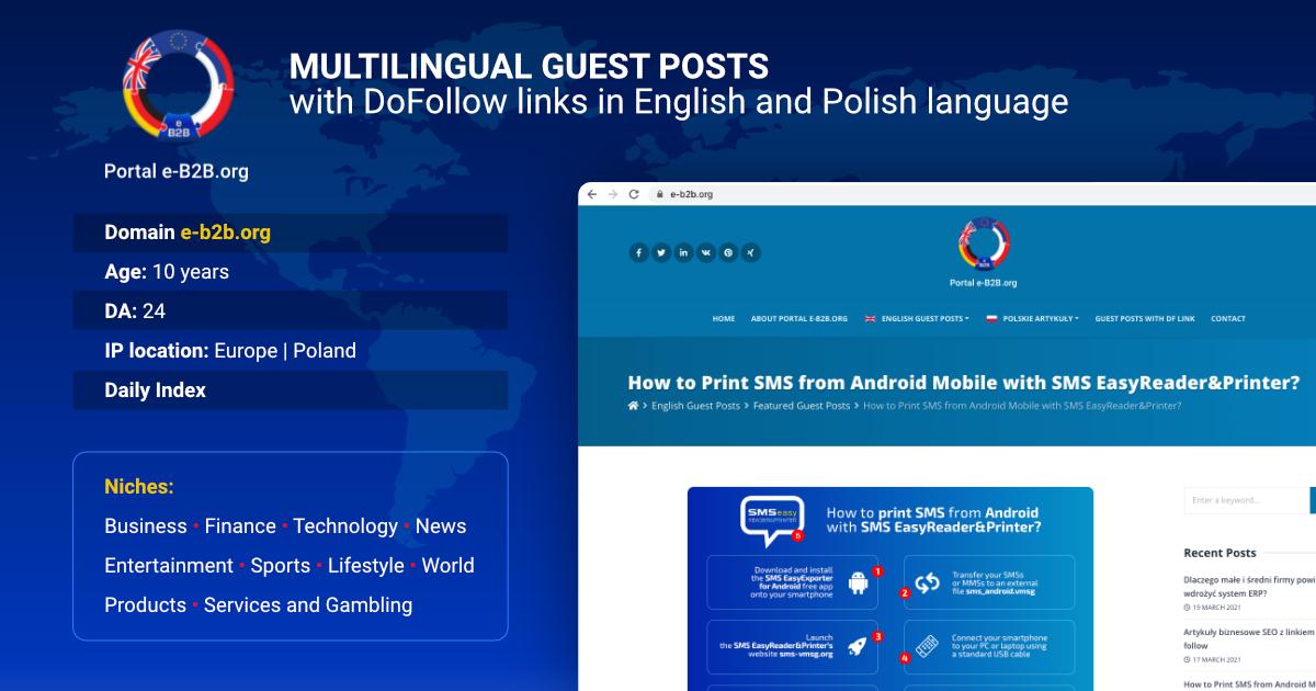 Portal e-B2B. org / Lifetime GUEST POSTS with 2 dofollow links / Niche TECH