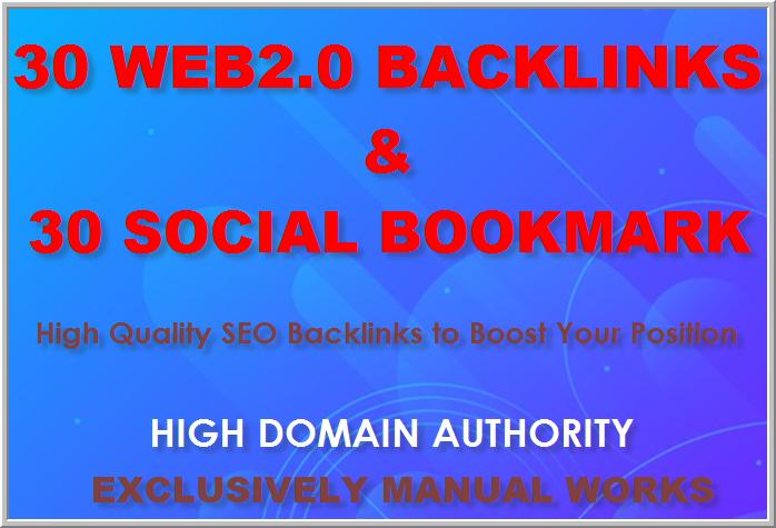 Provide 39 Handmade web2.0 Backlinks along with 30 High DA Social Bokkmarks to skyrocket your rankin