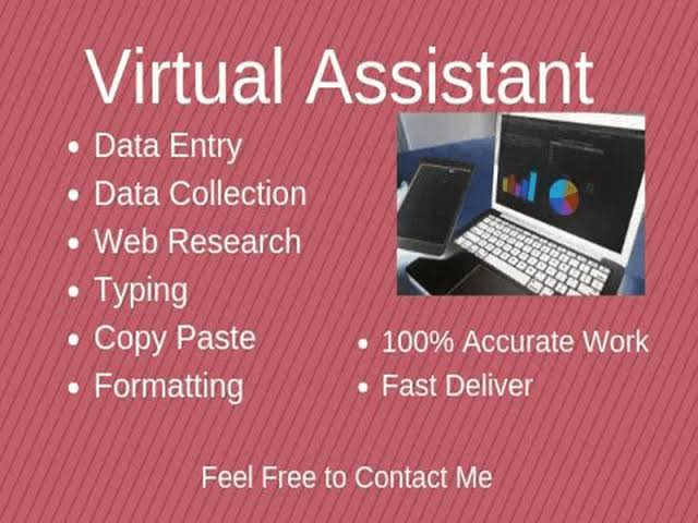 I will be your virtual assistant or personal assistant for data entry, copy paste work and any task
