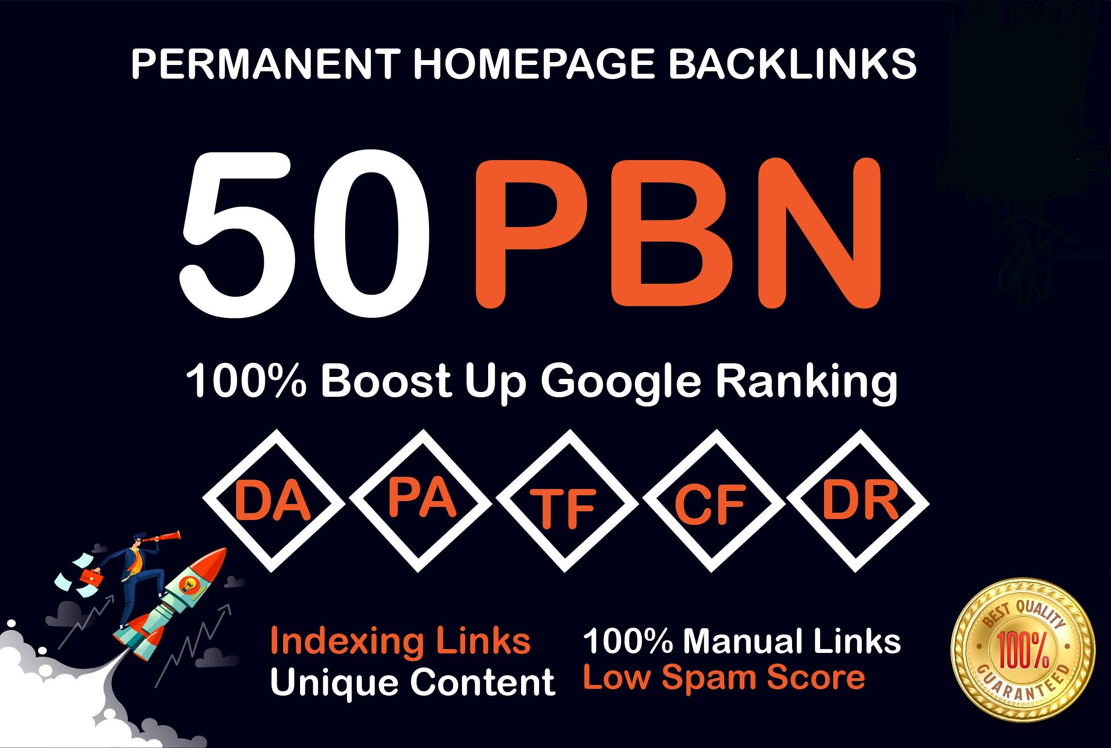 I will do 50 PBN dofollow DA 25+ homepage google index backlinks To Skyrocket you SERP
