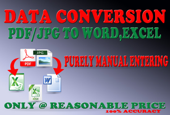 I will do data entry work and PDF/JPEG to editable format word, excel, &hellip ect