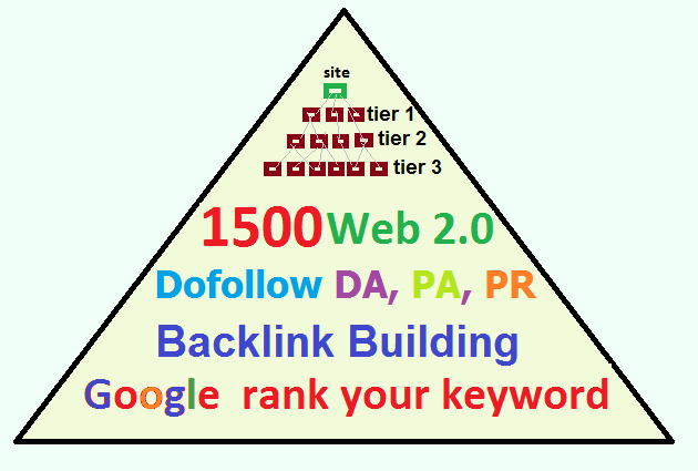 1500 multi-tier Web 2.0 backlinks super booster with PR, DA, PA, do follow tier1, tier2, tier3