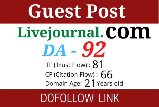 Write and publish a guest post on livejournal. com DA 92