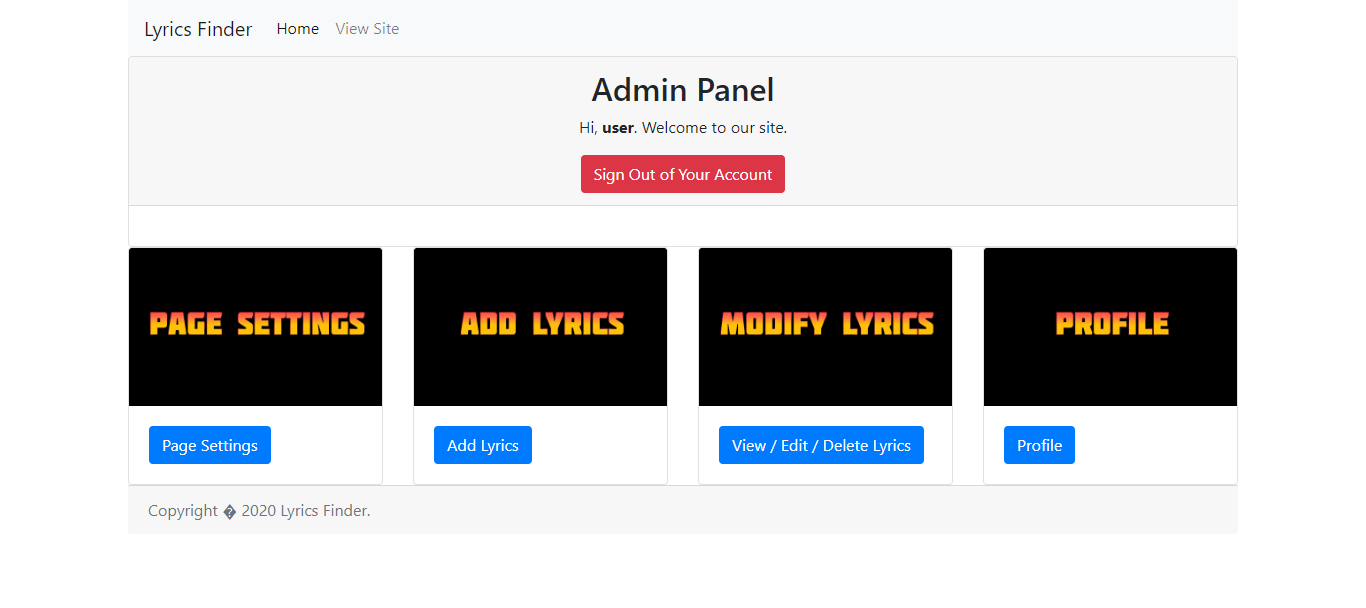 Music Lyrics Finder PHP Script with Admin Panel