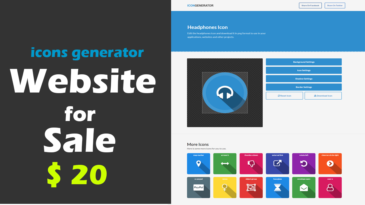 Icons Generator php website for sale