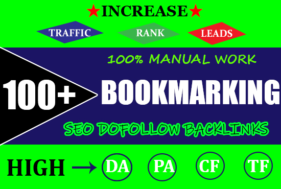 I will create100 bookmark submission backlinks high da pa cf tf