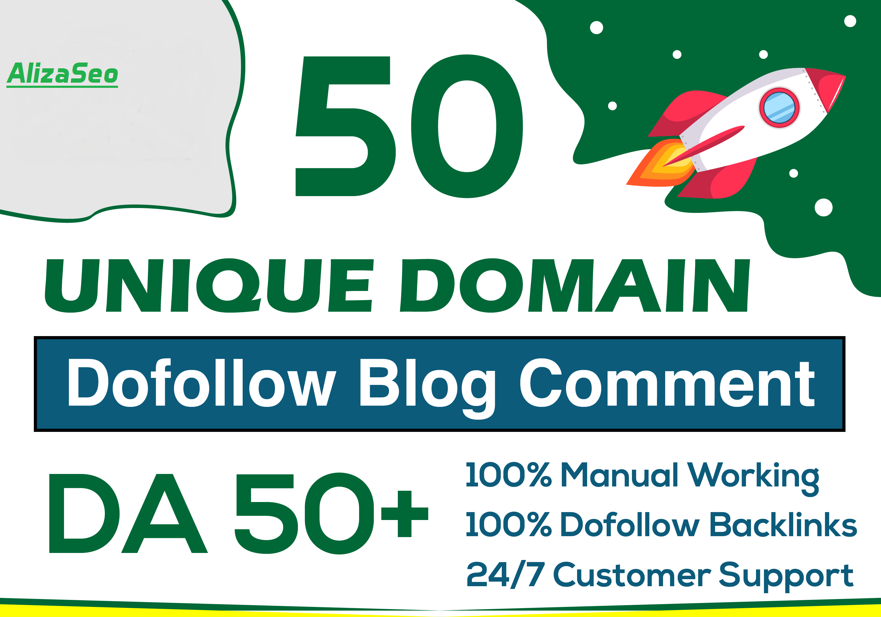 i will do 50 unique domain manual blog comments on high da, pa backlinks