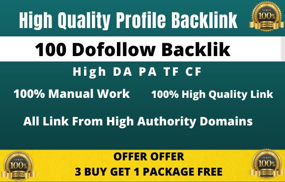I will do 100 HQ profile backlinks manually for website seo