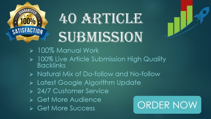 i will create 40 article submission on high da pa