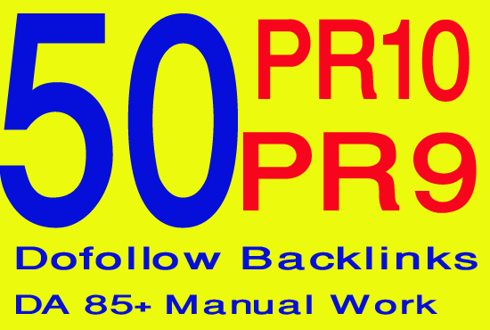 Create 50 PR10 to PR8 best quality seo backlinks manually