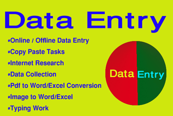 I will do your any kind of data entry works with 24/7 support