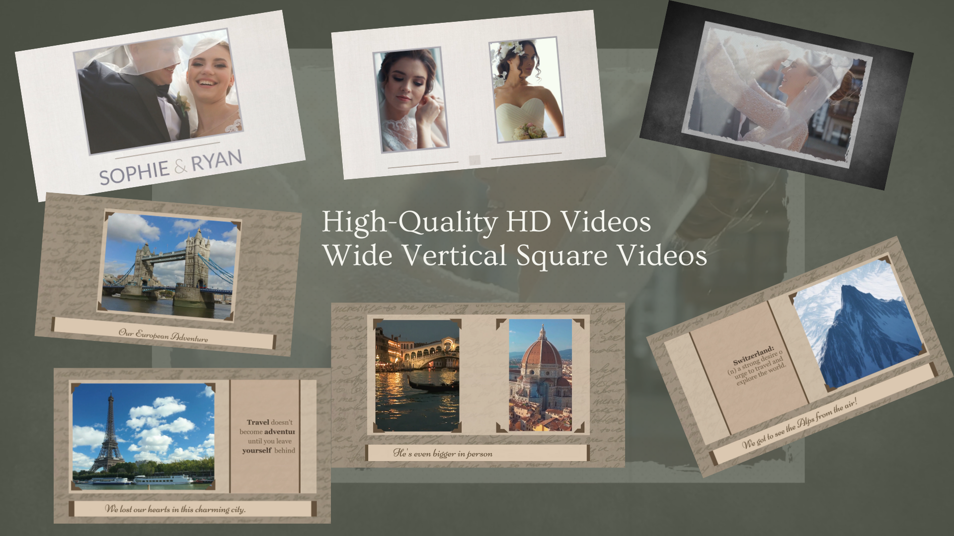 I will create elegant slideshow video with your pics and videos