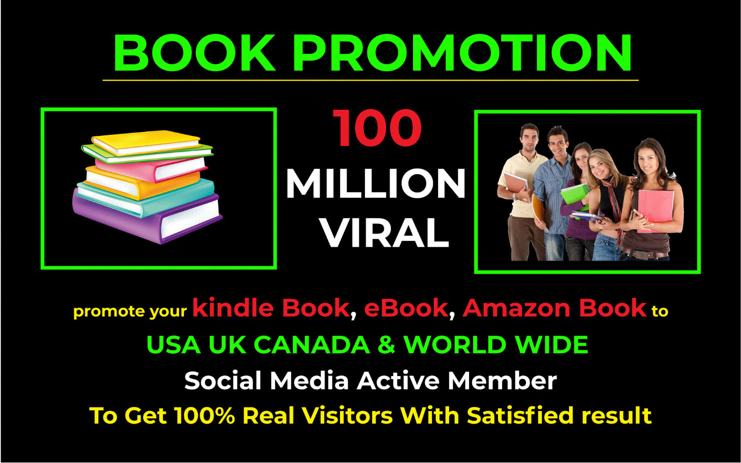 I will promote your kindle book,  Amazon ebook on social networks