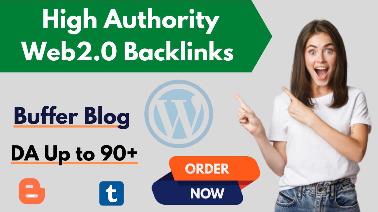Manually Create 10 Web2.0 Blog High Authority Contextual Backlinks for Rank