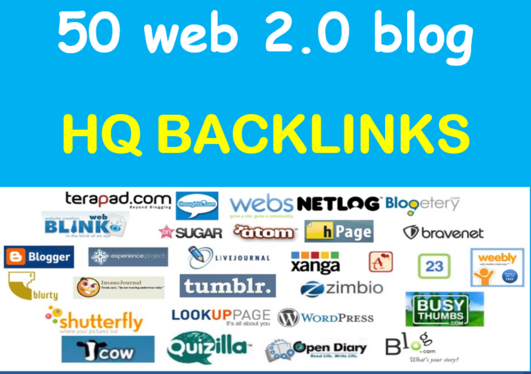I Will Build 50 High Quality Web2.0 Blog Backlinks With Unique Content & Image