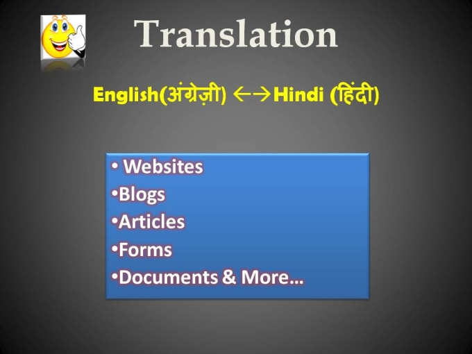 I will do english to hindi translation