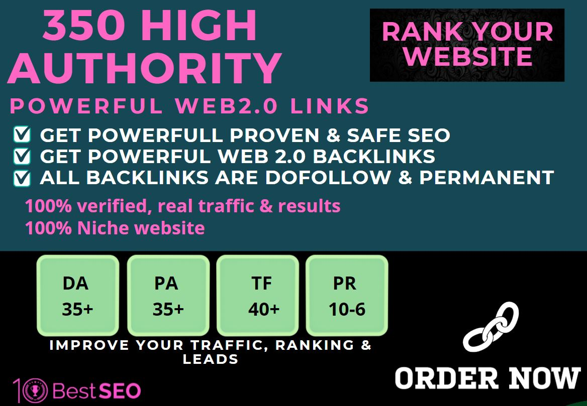 350+web2.0 Backlink in your website homepage with HIGH DA/PA with unique websites