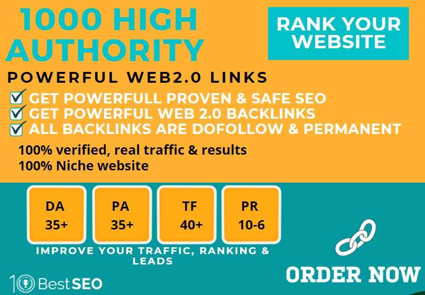 1000+web2.0 Backlink in your website homepage with HIGH DA/PA with unique websites