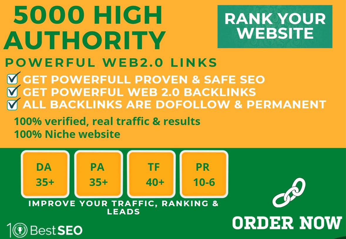 5000+web2.0 Backlink in your website homepage with 70+ HIGH DA/PA with unique websites