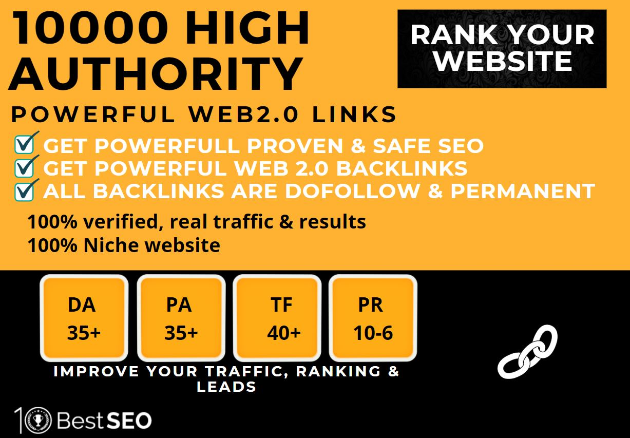 10000+web2.0 Backlink in your website homepage with HIGH DA/PA with unique websites