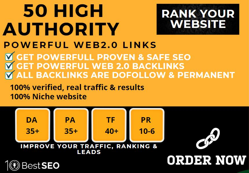 50+web2.0 Backlink in your website homepage with HIGH DA/PA with unique websites