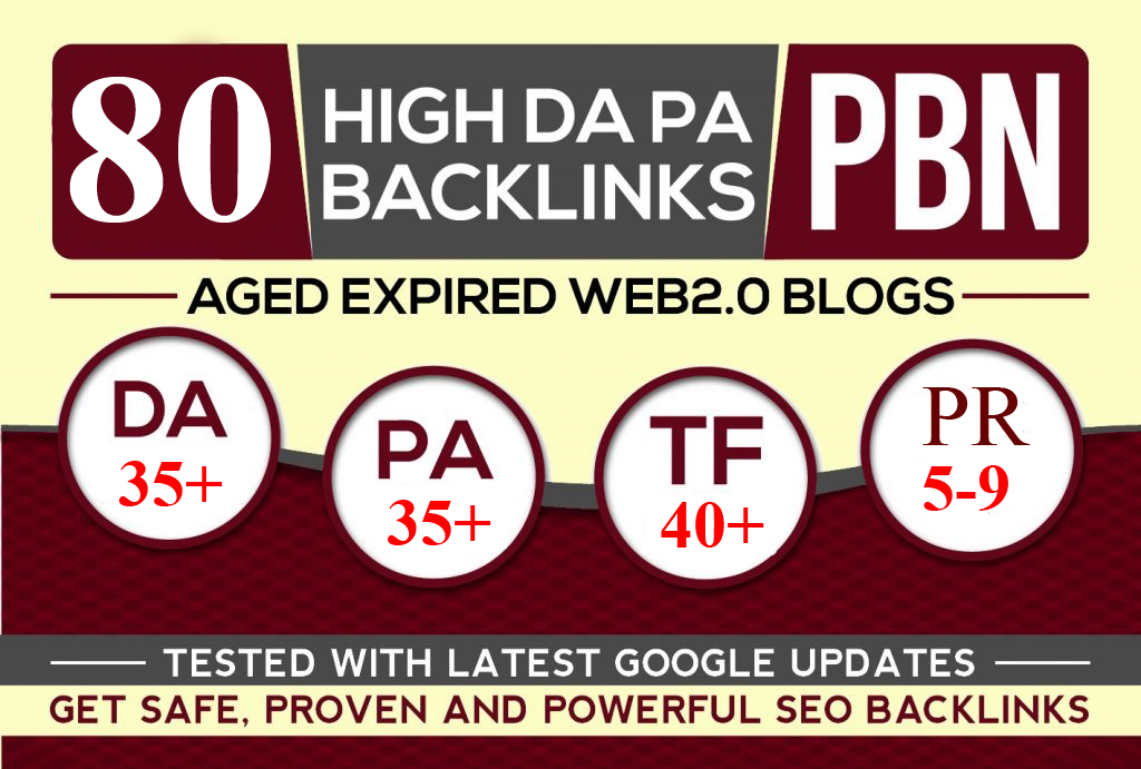 CREATE MANUALLY DA 35+ PA35+ web 2.0 80 Powerful PBN 80 unique site