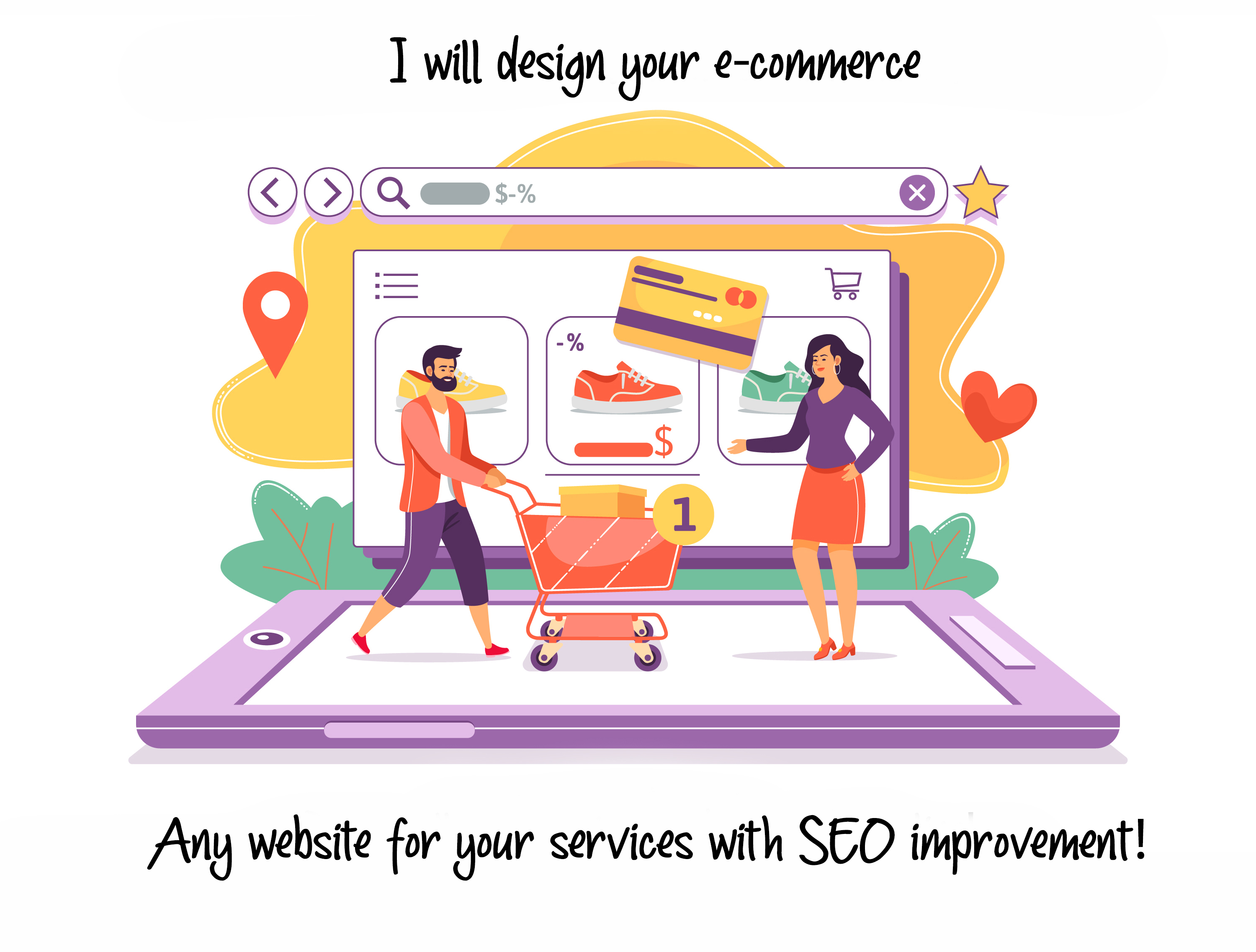 I will design your website or ecommerce with SEO IMPROVEMENT